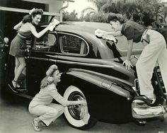 Girls washing car, 1942