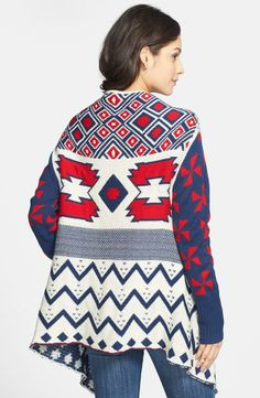 red and blue pattern cardigan