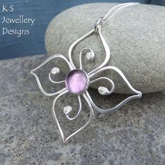 Lilac Amethyst Sterling Silver Flower Pendant - Swirl Blossom by KSJewelleryDesigns