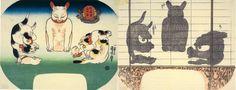 Kuniyoshi, Cats as Chinese temple lion (し ゝ, shishi), owl (みゝつく, mimizuku), and noh demon mask (はんにゃめん, hannyamen)