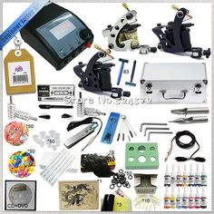 56.00$  Buy now - http://ali4e8.worldwells.pw/go.php?t=32538550690 - Professional 1 Set Tattoo machine kit body art cosmetic tools kit ,3 guns tattoo machine kit &teaching CD &inks 56.00$