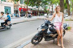 Global Gal Sarah, expat life and family, motorbike in Hanoi