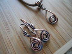 Urban Industrial Oxidized Copper Wire Wrapped Necklace and Earrings by OurFrontYard, $22.77