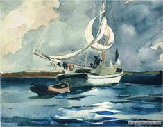 off Hand made oil painting reproduction of Sloop, Bermuda, one of the most famous paintings by Winslow Homer. Winslow Homer concluded the watercolor painting entitled Sloop, Bermuda in at the age of sixty-three. The artist made ma. Andrew Wyeth Paintings, Winslow Homer Paintings, Inspiration Art, Wow Art, Art Plastique, Art Reproductions, Oeuvre D'art, Watercolor Paintings, Watercolors
