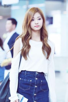 Cute Denim Skirt and Simple White Blouse | Tzuyu | TWICE
