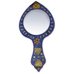 Blue Golden Trinkets Decorative Hand Mirror