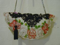LenaVintage Hankie Clutch Bag with Black Chain Handle by fancibags, $80.00