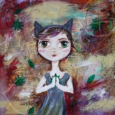 12x 12 - Big Eye Art - Mixed Media - Girl with Hat - Painting - Square - Original Painting - Cat Girl. $182.00, via Etsy.