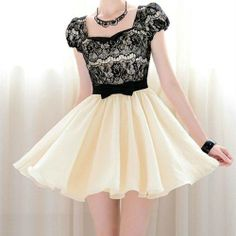 #lace #black and cream dress