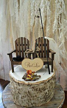 Fishing camping themed wedding cake topper fishing pole camp fire Adirondack…