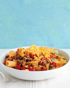 Stovetop Chili Mac Recipe | Martha Stewart Living _ Love mac and cheese and can't get enough of chili?