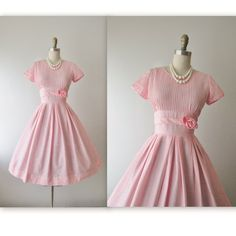 50's Dress // Vintage 1950's Pink Cotton Garden Party Casual Day Prom Dress XS