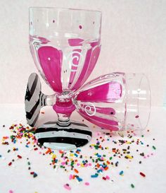 Items similar to Ice Cream Sundae Dishes - zebra striped hot pink hand painted art on glass on Etsy Ice Cream Dishes, January 2016, Hand Painting Art, Sprinkles, Hot Pink, Hand Painted, Candy, Dreams, Decorating