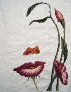 Mouth of the Flower cross stitch. Mouth of the Flower cross stitch. Hand Embroidery Stitches, Hand Embroidery Designs, Embroidery Techniques, Embroidery Thread, Cross Stitch Embroidery, Embroidery Patterns, Embroidery Tattoo, Cross Stitch Love, Cross Stitch Flowers
