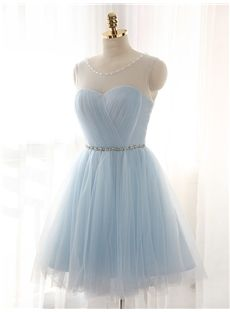 Short/Mini Blue Zipper-up Sleeveless Glamorous & Dramatic Prom Fall Pleats Dress