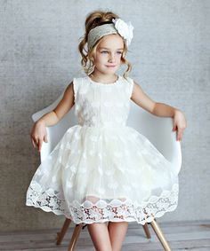 Loving this Pale Yellow Butterfly Lace A-Line Dress - Toddler & Girls on #zulily! #zulilyfinds