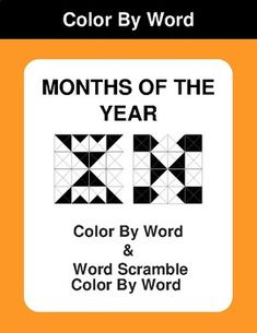 Months of the Year - Color By Word & Color By Word Scramble Worksheets Math Worksheets, Months In A Year, Coding, Teaching, Education, Words, Projects, Fun, Color