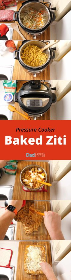 Pressure Cooker Baked Ziti recipe, in one pot (the pressure cooker) and one pan (the baking dish.) | DadCooksDinner.com via @DadCooksDinner