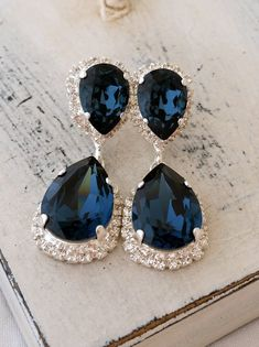 Navy blue crystal Chandelier earrings Drop by EldorTinaJewelry