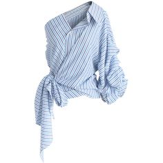Chicwish Cutting Edge Wrapped One-shoulder Top in Blue Stripes ($45) ❤ liked on Polyvore featuring tops, shirts, blue, stripe top, wrap tops, button shirt, going out tops and ruffle top