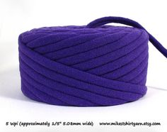 'Purple People Eater'. Recycled TShirt Yarn. 26 Yards - Super Bulky from MikesTShirtYarn.