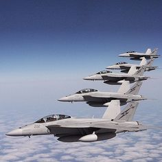 Royal Australian Air Force F/A-18F Super Hornets in flight over the Pacific Ocean.