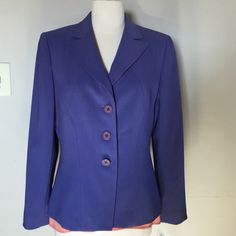 KASPER Jacket NWT size 8 New with tags ,size 8 fits exactly to size 8 beautiful jacket with decorative stitching,fully lined,color blue with some purple Kasper Jackets & Coats Blazers