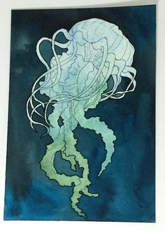 jellyfish Art, Jellyfish Wall Art, Jellyfish Painting, Original Watercolor Painting, Original Artwork, 5x7 Watercolor Ocean Themed Artwork by MariaOglesbyArt on Etsy
