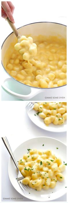 Gnocchi Mac and Cheese Swap out chewy and delicious gnocchi in place of noodles to make this super tasty mac and cheese! With GF gnocchi, it's also naturally gluten-free. Think Food, I Love Food, Vegetarian Recipes, Cooking Recipes, Healthy Recipes, Delicious Recipes, Pescatarian Recipes, Tasty Dinner Recipes, Healthy Food Alternatives