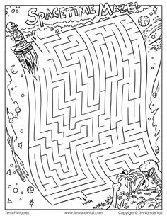 Guide the time machine through the fabric of spacetime into the age of the dinosaurs! Mazes For Kids Printable, Worksheets For Kids, Hard Mazes, Maze Worksheet, Labyrinth Maze, Maze Puzzles, Maze Game, The Time Machine, Hidden Pictures