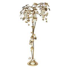 Vintage brass flower floor lamp flower lamp 1950 s metal floor 1970s gold vine leaf palm floor lamp aloadofball Choice Image
