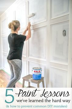 5 rules about primer and paint we wish we had known as beginner DIYers and how to create a paint finish on walls, doors, trim, and moldings that last. | Master Bedroom Refresh using black paint with Kilz® #painting