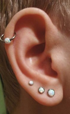Cute Multiple Ear Piercing Ideas Combinations - Triple Opal Lobe Earring - Cartilage Ring Hoop 16G - MyBodiArt.com #beautifuljewelry
