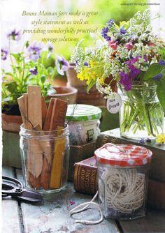 Recycled Bonne Maman Jars - craft room