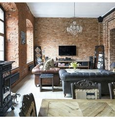 Inviting space for living - great textures and lots of light Brick Interior, Home Interior Design, Interior Architecture, Interior And Exterior, Exterior Design, Manhattan Apartment, Cozy Apartment, Rustic Loft, Industrial Living