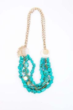 Gold Brooch and Turquoise chunky necklace, Vintage Inspired