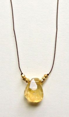 Terra Necklace with Chunky Faceted Citrine on Silk Cord by Flow Designs Etsy Handmade Jewelry