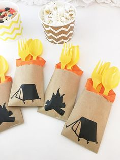 Cutlery Bags – Camping Party Decorations – Backyard Party – Outdoor Party – Fishing Birthday – Camp Party – Woodland Baby – Lumberjack Party - All About Garden Camping Party Decorations, Camping Parties, Outdoor Parties, Birthday Party Decorations, Camping Themed Party, First Birthday Camping Theme, Camp Birthday Party, Camping Party Foods, Backyard Decorations