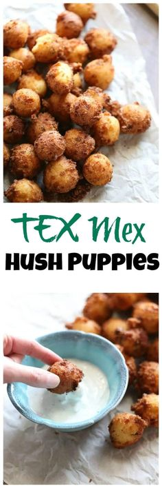 This Tex Mex Hush Puppy recipe is so fun and easy; one bite and you and your guests will be hooked! Don't forget the buttermilk ranch dipping sauce. Finger Food Appetizers, Appetizer Recipes, Enchiladas, Hush Puppies Recipe, Buttermilk Ranch, Tex Mex, Tortillas, Southern Recipes, Snack