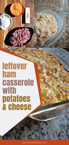 What can you do with leftover holiday ham? Make this yummy casserole! Easily prep it in the morning, then pop it in the oven for dinner. It's super easy, and the perfect way to use up your leftovers. Leftover Ham Casserole, Cheesy Potato Casserole, Beef Casserole Recipes, Cheesy Potatoes, Potato Recipes, Easy Desserts, Dessert Recipes, Pork Recipes For Dinner, Holiday Ham