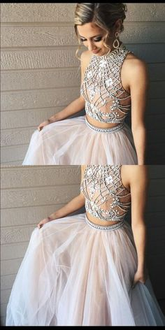 Modest Prom Dress,Two Piece High Neck Chmapgne Prom Dress with Open Back evening dress