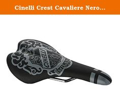 Cinelli Crest Cavaliere Nero Black Bicycle Saddle Road Track Fixed Gear Bike. One of the most long-living saddle models ever made, comfortable, tested, light and at a great price! Cinelli wondered how to make it better and they ended up with 3 incredible new designs- Araldo (Multi-color), Cavaliere Nero (Black) and Cavaliere Blue, for the die hard Cinelli riders out there.Features:Cinelli crest logo compliments any Cinelli bikeSynthetic leather cover embossed with Cinelli…
