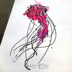 Jellyfish tattoo geometric watercolor thigh tattoo