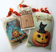 """Digital Halloween images on muslin treat bags using iron on transfer paper by Vicki Chrisman using Crafty Secrets Creating with Vintage Halloween"""" CD"""