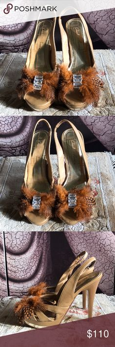 """CHARLOTTE RUSSE - Art Deco Inspired Feather Heels These are stunning!!  There isn't a size on these but I measured 6 1/2"""" from heel to toe. Charlotte Russe Shoes Heels"""