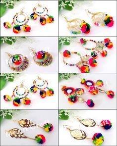 boho Pom Pom Earrings, colorful tassel earrings,tribal Pom Pom earrings, pom pom earrings BY Diy Tassel Earrings, Tassel Jewelry, Fabric Jewelry, Tribal Jewelry, Unique Earrings, Thread Bangles Design, Thread Jewellery, Handmade Accessories, Handmade Jewelry