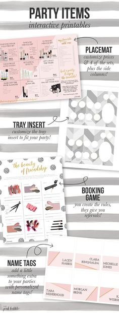 Customizable Mary Kay Party Items! Including a placemat/closing sheet, tray insert, booking/referring game, and name tags!! Find them only at www.thepinkbubble.co!