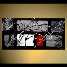 "Black White Red Contemporary Abstract Painting, Modern Textured Acrylic Painting by Osnat - MADE-TO-ORDER - 48""x24"""
