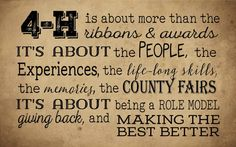 4-H People, Experiences, Lifelong Skills, Memories, Values - Wood Sign or Canvas Wall Hanging (Large) - State Fair Great Christmas Gift!!!