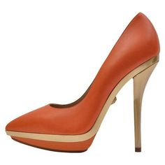 Preowned Versace Orange Leather Gold Platform Pumps ($795) ❤ liked on Polyvore featuring shoes, pumps, heels, orange, stiletto pumps, high heel shoes, high heeled footwear, gold heel pumps and gold stilettos